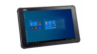 「ARROWS Tab Q5011/G」富士通のWin10搭載10.1型タブレット、安心して使える堅牢防水モデル